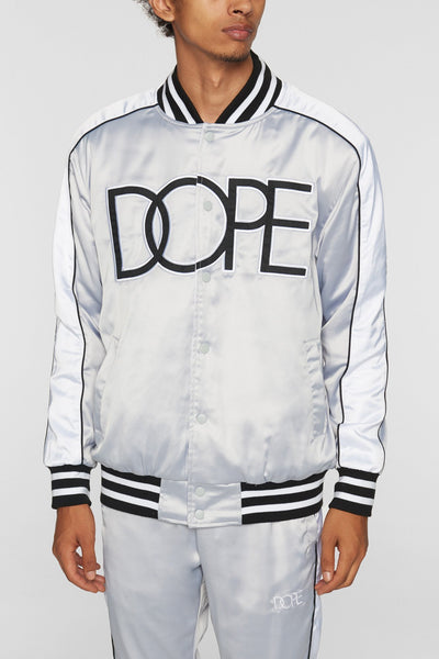 DOPE sideline reversible satin bomber silver jackets and outerwear silver TheDrop