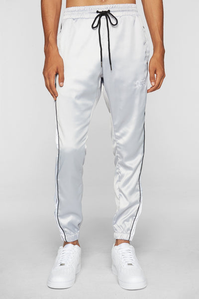 DOPE sideline satin joggers silver pants and joggers silver TheDrop