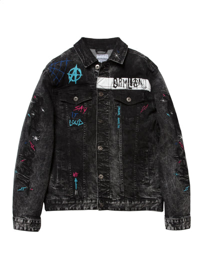 Dreamland disobedient jean jacket d2002o0226 blk jackets and outerwear black TheDrop