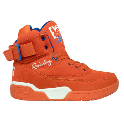 Ewing Athletics 33 hi orange suede white blue sneakers TheDrop