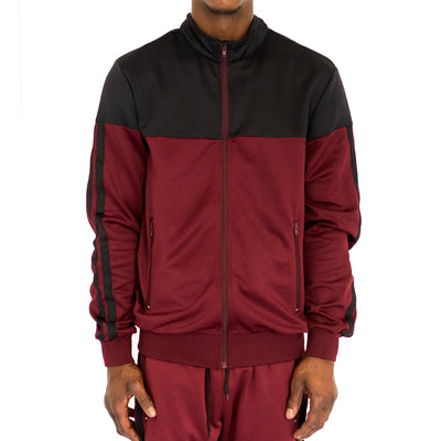 FXN double stripe track jacket black burgundy jackets and outerwear TheDrop