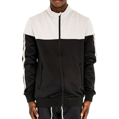 FXN double stripe track jacket grey black jackets and outerwear TheDrop