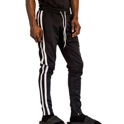 FXN double stripe track pant black grey pants and joggers TheDrop