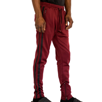 FXN double stripe track pant burgundy black pants and joggers TheDrop