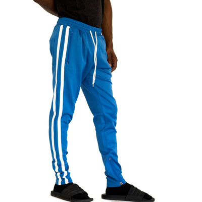 FXN double stripe track pant white baby blue pants and joggers TheDrop