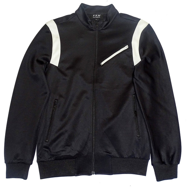 FXN jogger track jacket black white jackets and outerwear TheDrop