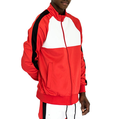 FXN moto block track jacket red white black jackets and outerwear TheDrop