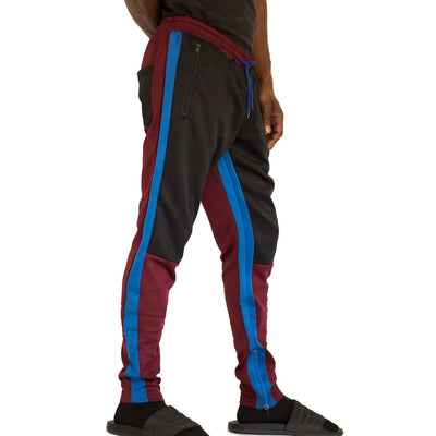 FXN moto block track pant burgundy black royal blue pants and joggers TheDrop