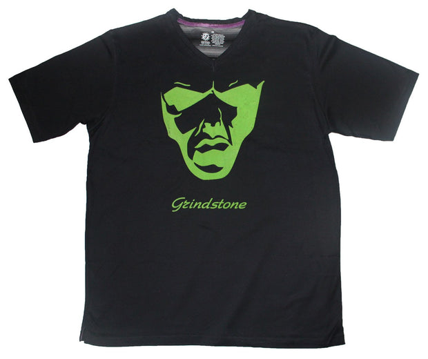 Grindstone Universal flocked big face t shirt green and black tees and tank tops TheDrop