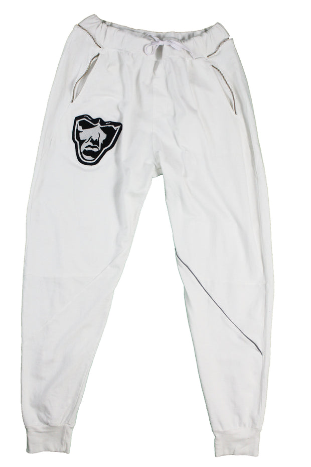 Grindstone Universal white fleece chenile patch joggers pants and joggers TheDrop