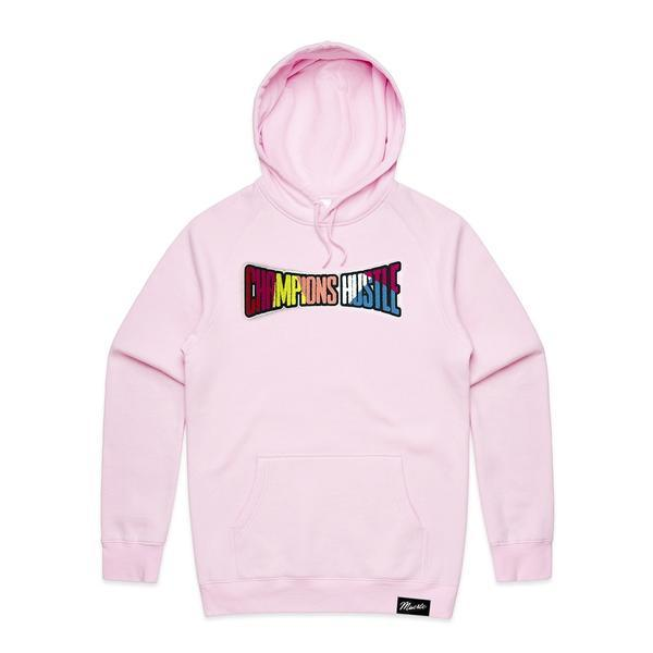 Hastamuerte cotton candy pink champions hustle chenille patch hoodie hasta muerte TheDrop