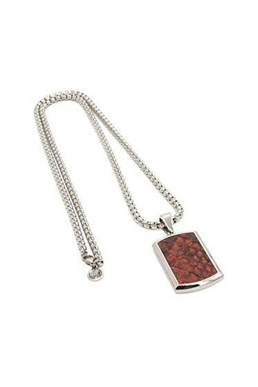 HIP AND BONE croc leather dog tag and silver chain red jewelry TheDrop