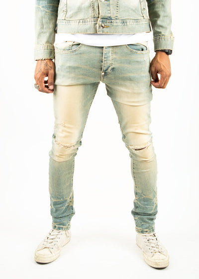 Mackeen ron jeans dirty denim jeans TheDrop