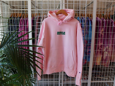 MIDFLD midfld champion new york funk reverse weave hoodie pink green hoodies and crewnecks TheDrop