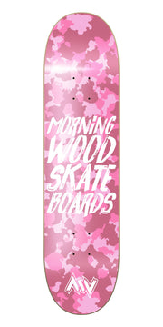 Morning Wood Skateboards pink camo deck street park TheDrop