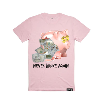 Never Broke Again money pig t shirt pink tees TheDrop