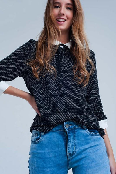 Q2 white collared printed blouse tops black TheDrop