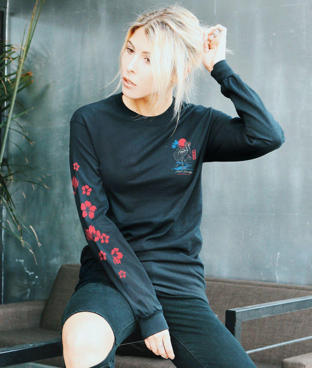 Riot Society Clothing crane skeleton tokyo beach club womens long sleeve tee tees and tank tops black TheDrop