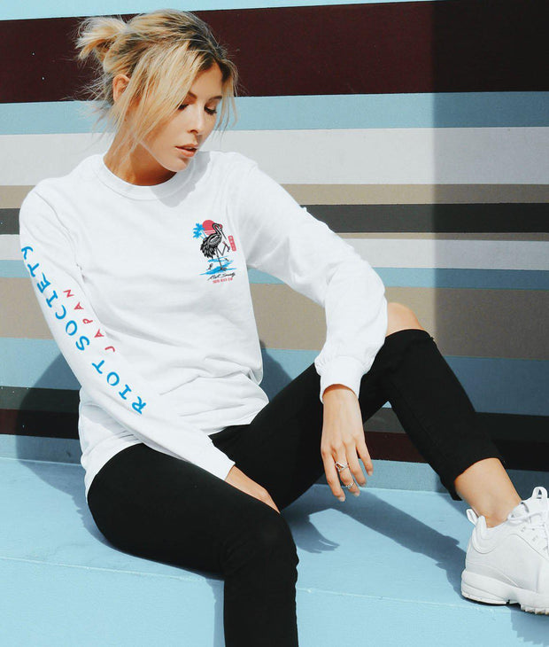 Riot Society Clothing crane skeleton tokyo womens long sleeve tee tees and tank tops white TheDrop