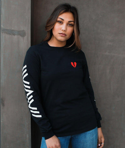 Riot Society Clothing geo broken heart embroidered womens long sleeve tee tees and tank tops black TheDrop