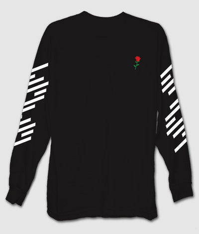 Riot Society Clothing geo rose embroidered mens long sleeve t shirt tees black TheDrop