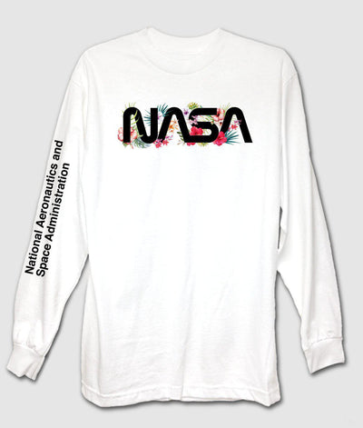 Riot Society Clothing tropical nasa mens long sleeve t shirt tees white TheDrop