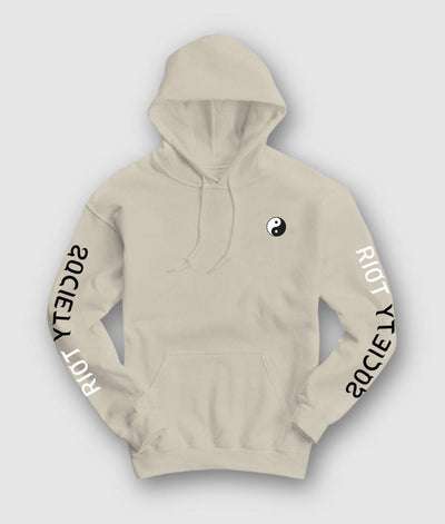 Riot Society Clothing yin yang embroidered mens hoodie riot society beige TheDrop