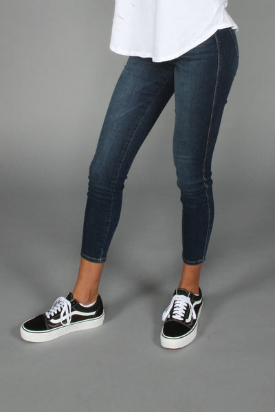 Seize Desist Los Angeles dark denim high rise skinny jeans seize desist navy TheDrop