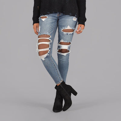 Seize Desist Los Angeles fishnet crop skinny jeans seize desist blue TheDrop