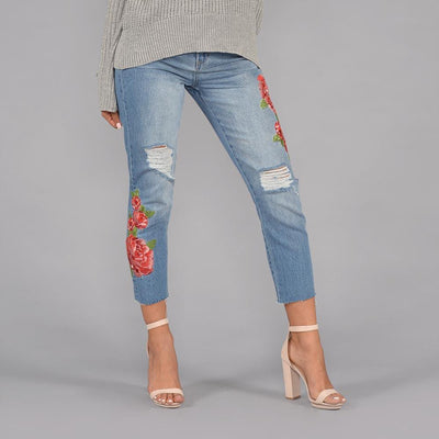 Seize Desist Los Angeles high rise rose embroidered girlfriend jeans seize desist blue TheDrop