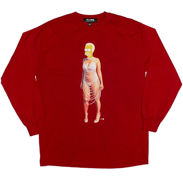 Skim Milk homer rose long sleeve t shirt tees red TheDrop