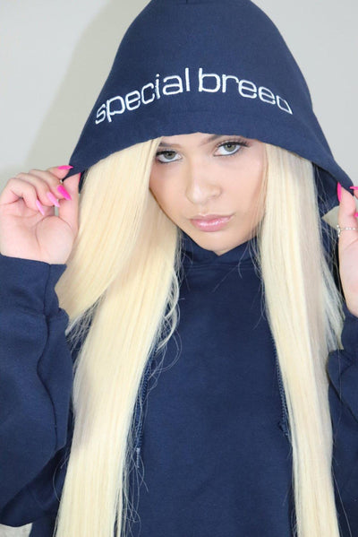 specialbreed navy hoodie with white logo special breed TheDrop