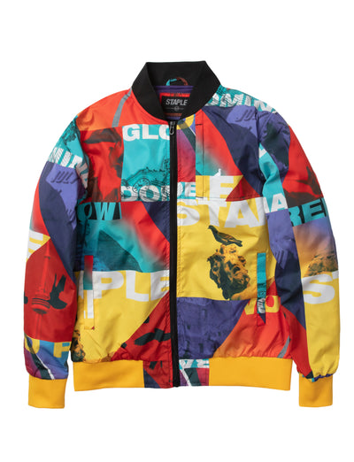 Staple Pigeon world collage nylon jacket 2001o5792 mlt staple multi TheDrop