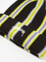 Stussy stussy verticle stripe cuff beanie black oneup skate shop TheDrop