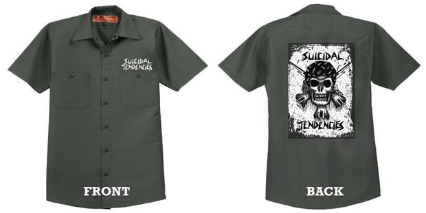 Suicidal Tendencies rxcx skull dickies work shirt button down shirts grey TheDrop