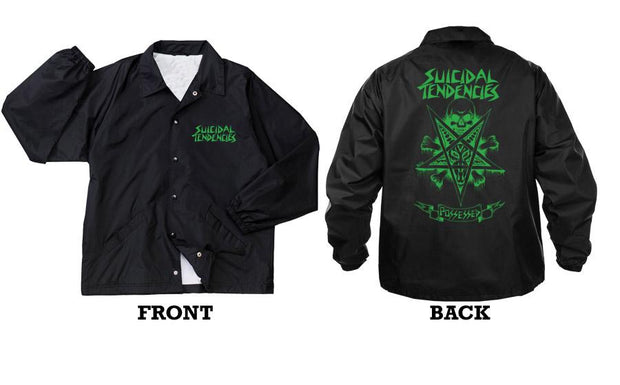 Suicidal Tendencies windbreaker st possessed green print jackets and outerwear black TheDrop