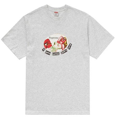 Supreme supreme it gets better every time tee ash grey streetwear official TheDrop