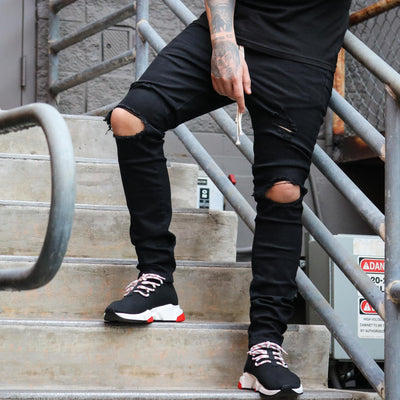 THRT DENIM ripped denim black streetwear official black TheDrop