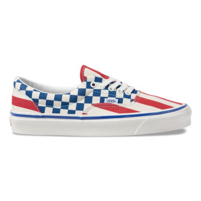 VANS anaheim factory era 95 dx og red stripes og blue check sneakers TheDrop