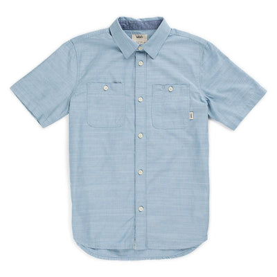 VANS vans guilder iv boys button up blue ashes tees blue TheDrop
