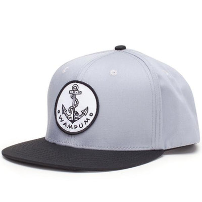 Wampum anchor snapback hat gray and black snapbacks black TheDrop