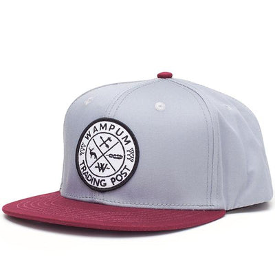 Wampum trading post snapback hat gray and maroon snapbacks red TheDrop