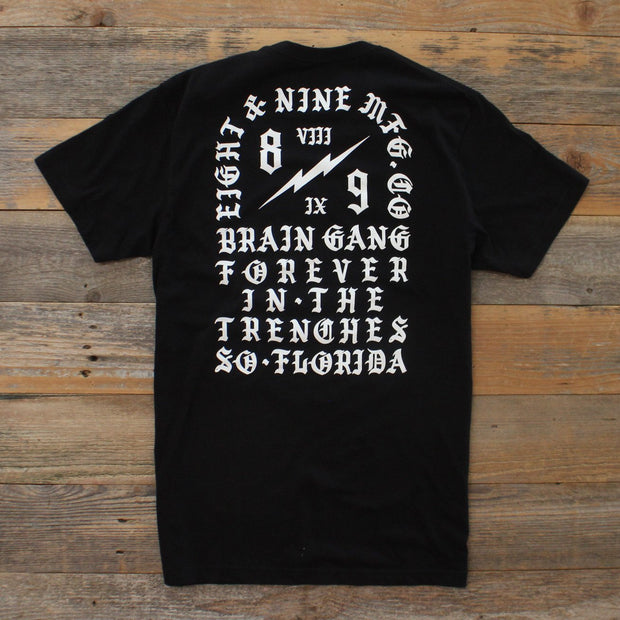 8 9 MFG Co. brain gang forever t shirt black tees TheDrop