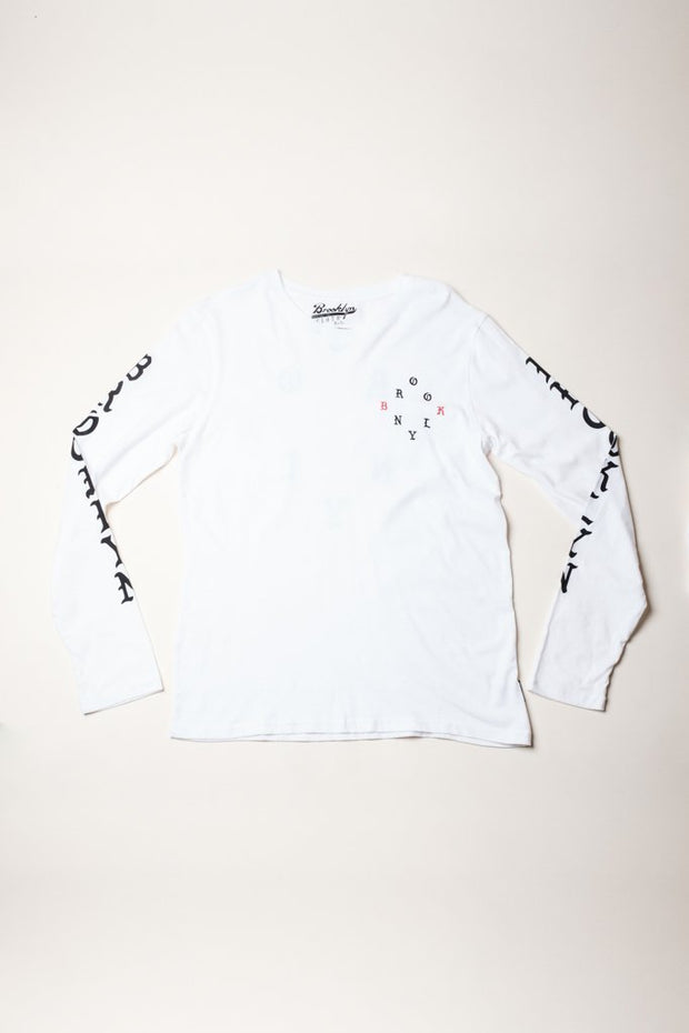 Brooklyn Cloth white gothic print brooklyn long sleeve tee tees white TheDrop