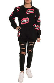 Kill Brand lips all over crewneck jackets and outerwear TheDrop