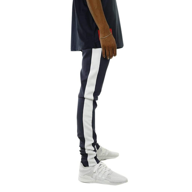 8 9 MFG Co. bones double strip track pants navy pants and joggers TheDrop