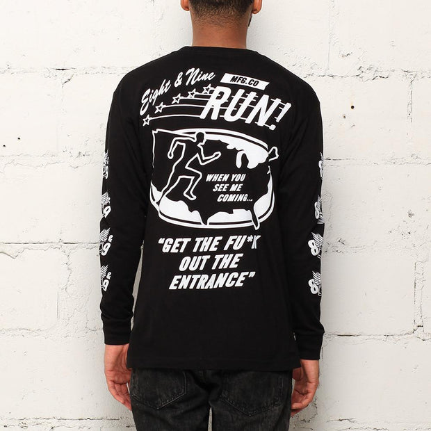 8 9 MFG Co. run l s t shirt black tees TheDrop