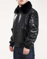 Hudson Outerwear croco bomber fur collar black jackets and outerwear TheDrop