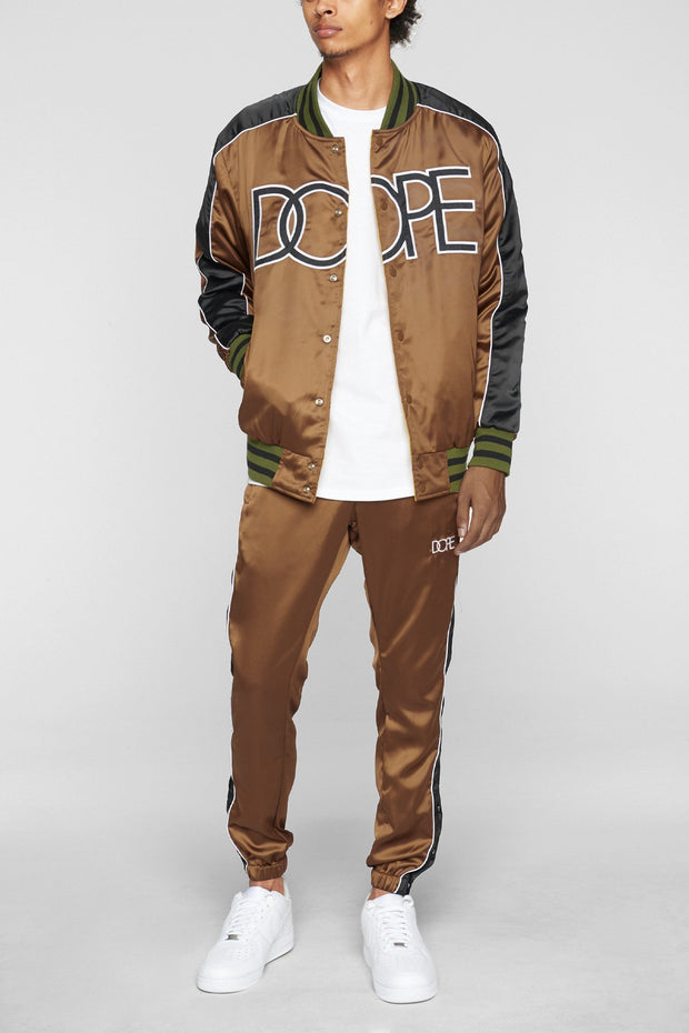 DOPE sideline reversible satin bomber brown jackets and outerwear brown TheDrop