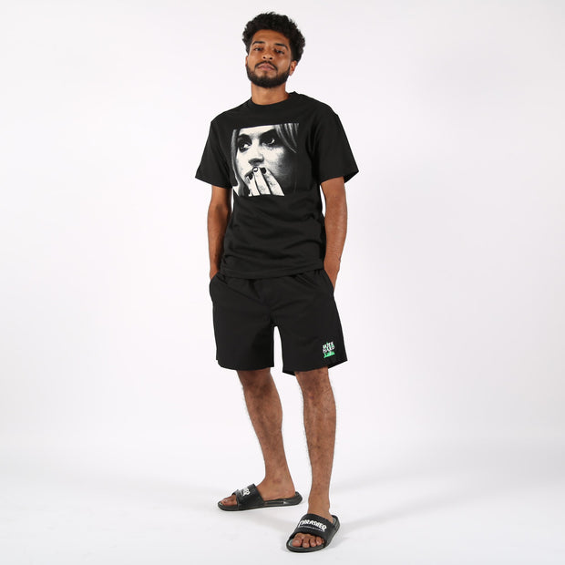 Lurk Hard flame cotton shorts black shorts black TheDrop